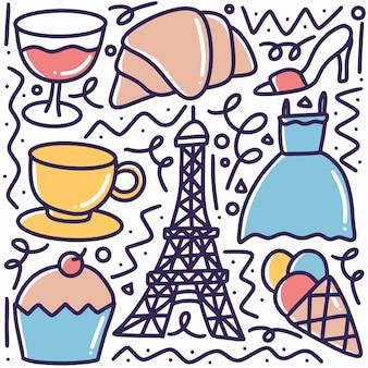 アイコンとデザイン要素でパリの手描きの休日の落書きセット