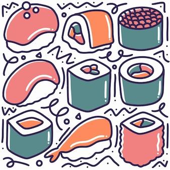 Каракули набор японской кулинарной еды ручной рисунок с иконами и элементами дизайна
