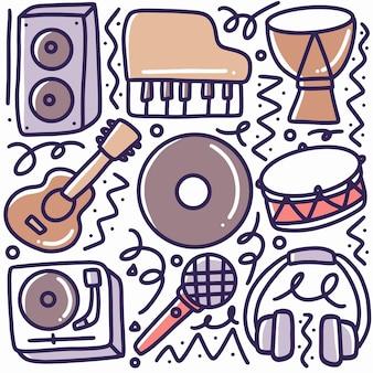 아이콘 및 디자인 요소로 그리기 음악 도구 손의 낙서 세트