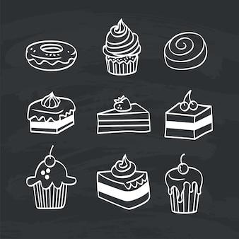 Doodle set of Piece cake