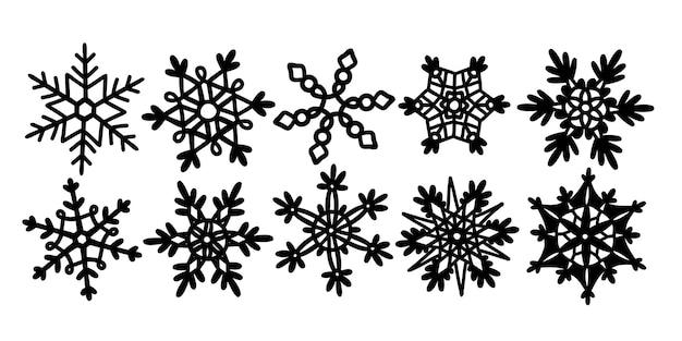 プロッターカット用の雪片の黒い線のシルエットで描かれた雪片の落書きセットv