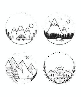 旅行とキャンプの落書きセット