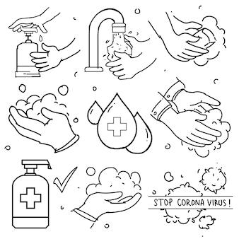 Каракули набор мытья рук. содержит такие значки, как инструкция по стирке, антисептик, мыло и многое другое. профилактика от вируса короны.