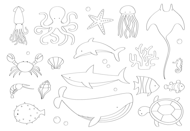 Doodle set of sea creatures on white background