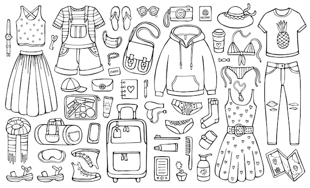 Doodle set of suitcase female garment and other objects for vacation and holiday
