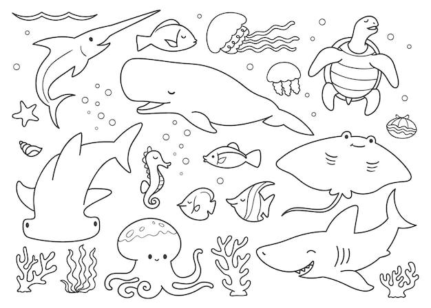낙서 세트 수중 동물
