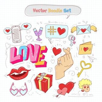 День святого валентина doodle set vector
