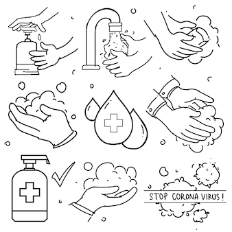 Doodle set of washing hands. contains such icons as washing instruction, antiseptic, soap and more. prevention from corona virus.