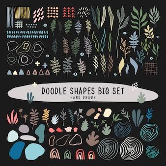 落書きは手描きの大きなセットを形作ります。ベクトルフラットイラスト。手描きのさまざまな落書きオブジェクトの大きなセット。葉っぱ。抽象的な現代的な現代の流行のベクトル画像。すべての要素が分離されています。