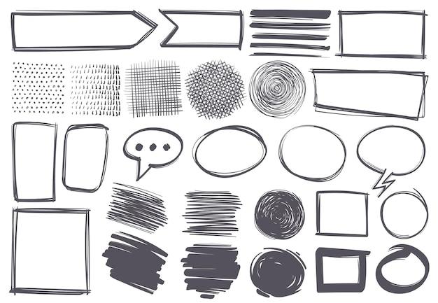 落書きの形。鉛筆スケッチのテクスチャと矢印、吹き出し、境界線とマーク。ストロークとフレームと記号、手描きのフリーハンド落書きセット