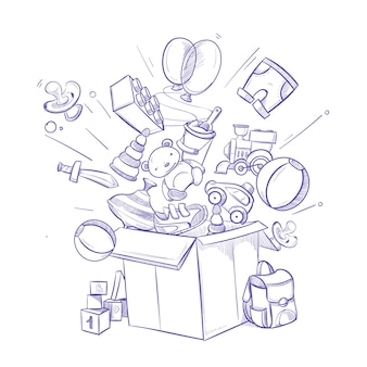 Doodle shopping box with lot of children toy and purchases
