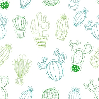 Doodle or sketch cactus seamless pattern