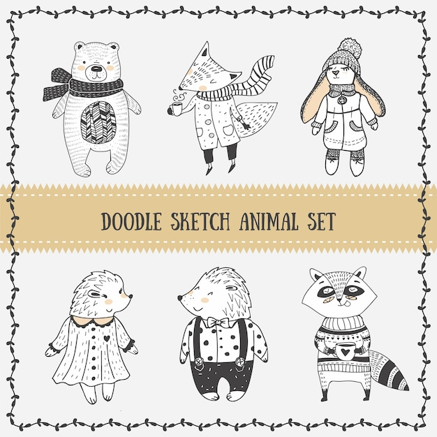 Doodle sketch cute animal characters set