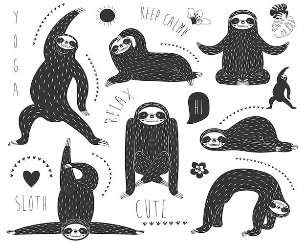 낙서 나무 늘보 곰 요가 포즈 컬렉션