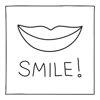 落書き笑顔のアイコンまたはロゴ、細い黒い線で手描き。白い背景で隔離。ベクトルイラスト