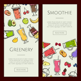 Doodle smoothie banner template set