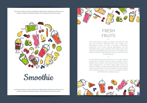Doodle smoothie flyer template