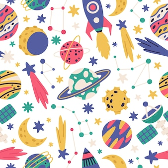 Doodle space cosmic seamless pattern planets spaceship and stars cartoon vector illustration