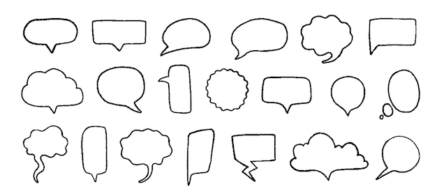 Doodle speech bubbles. hand drawn elements for quotes and text with pencil sketch lines and grunge shapes. vector trendy set