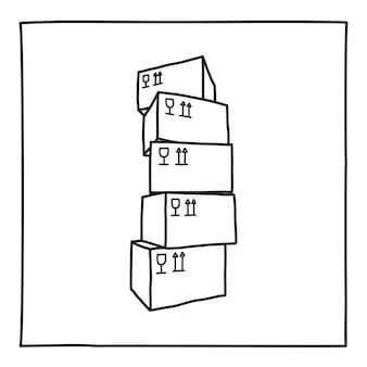 閉じたボックスのアイコンの落書きスタック。フレーム付きの黒と白のシンボル。ラインアートスタイルのグラフィックデザイン要素。 webボタン。白い背景で隔離。包装、配達、家の移動の概念。