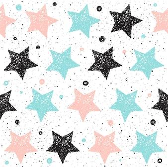 Каракули звезды бесшовный фон. черная, голубая и розовая звезда. абстрактный бесшовный паттерн для карты, приглашения, плаката, баннера, плаката, дневника, альбома, обложки книги эскизов и т. д.