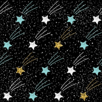 Doodle star seamless background. gold, blue and white star. abstract childish star pattern for christmas card, new year invitation, wedding album, book, scrapbook, textile fabric, garment, t-shirt.