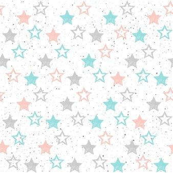 Каракули звезды бесшовный фон. серая, голубая и розовая звезда. абстрактный детский звездный узор для рождественской открытки, новогоднего приглашения, плаката, обложки книги, текстильной ткани, одежды.