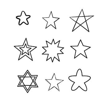 낙서 별 세트입니다. 흰색 바탕에 많은 귀여운 손으로 그린 별. 인쇄, 섬유, 종이에 대 한 벡터 일러스트 레이 션.