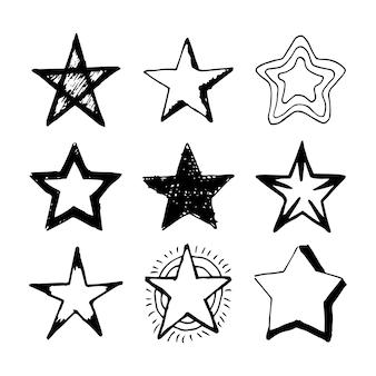 낙서 별. 9 검은 손으로 그린 별 흰색 배경에 고립의 집합입니다. 벡터 일러스트 레이 션