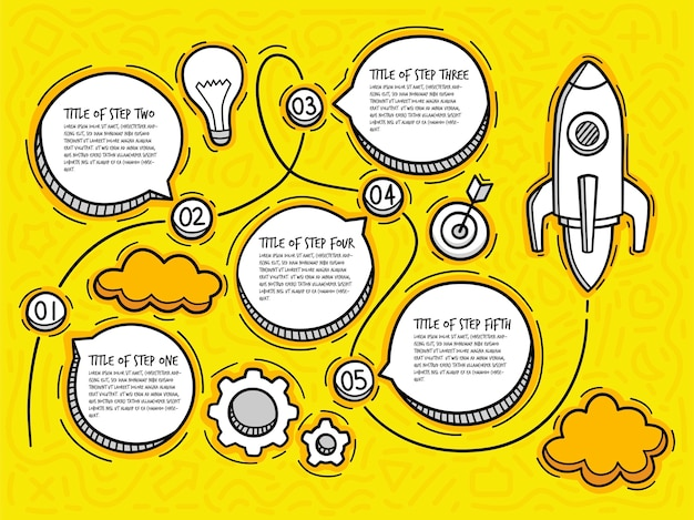 Doodle startup infographic with options. hand drawn icons. thin line rocket illustration.