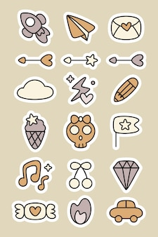 Doodle stickers planner set