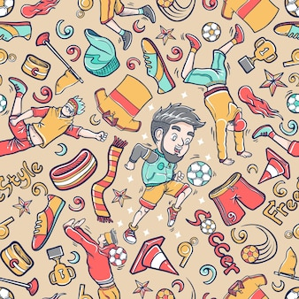 Doodle street soccer icon set pattern seamless background