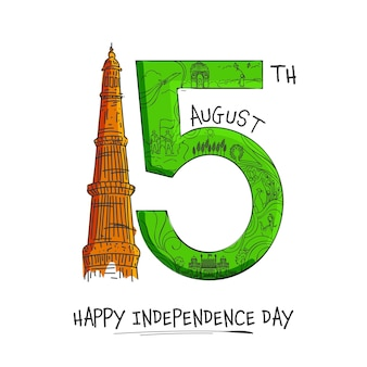 Doodle style 15th august text with qutub minar monument on white background for happy independence day concept.