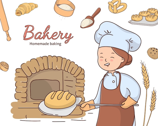 Doodle style baker woman puts bread in the oven