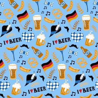 Doodle style beer and food seamless pattern.
