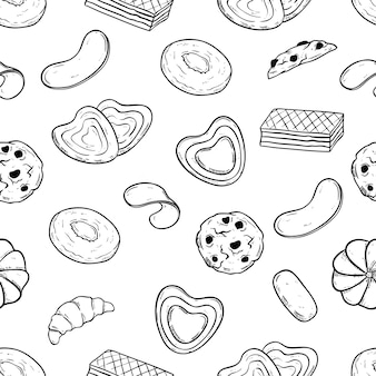 Doodle style of biscuits or cookies in seamless pattern