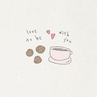 落書きスタイルのコーヒーとクッキー
