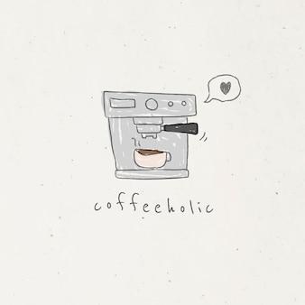 낙서 스타일의 커피 머신 벡터