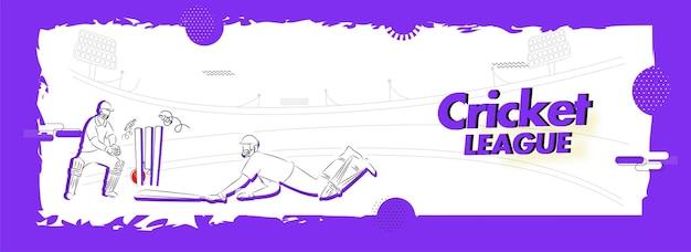 クリケットリーグの白と紫のスタジアムの背景にウィケットキーパーとランアウトバッツマンの落書きスタイルの概念。