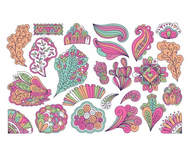 Doodle style cute colorful floral elements