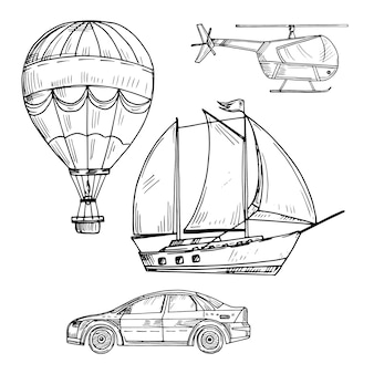 Doodle style drawing land, air and sea transport vector set