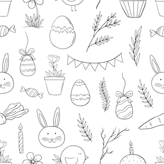 Doodle style of easter icons in seamless pattern