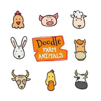 Doodle style farm animals icons set. cute hand drawn collection of animal heads