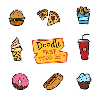 Doodle style fast food set. cute hand drawn collection of snack icons