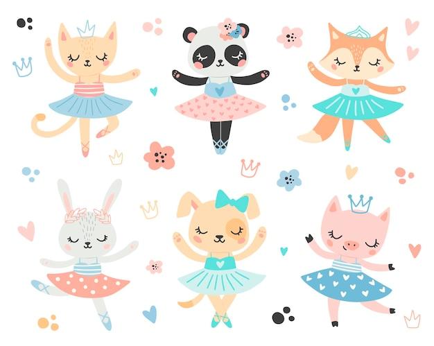 낙서 스타일의 평면 발레 동물. 발레리나 고양이, 팬더, 여우, 토끼, 개, 돼지