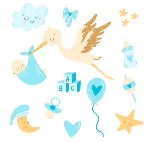 Doodle style flat  cartoon stork with newborn baby boy set