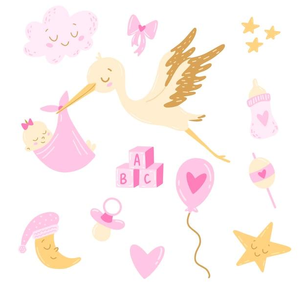 Плоский мультяшный аист в стиле каракули с набором для новорожденной девочки