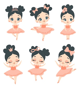 Doodle style flat   pink ballerina with black hair set