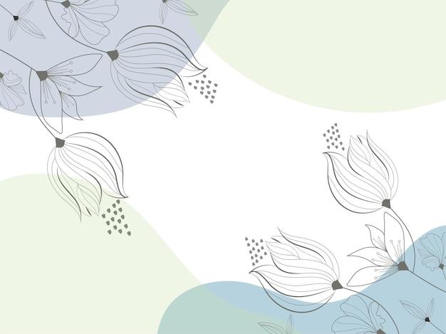 コピースペースで落書きスタイルの花の抽象的な背景。