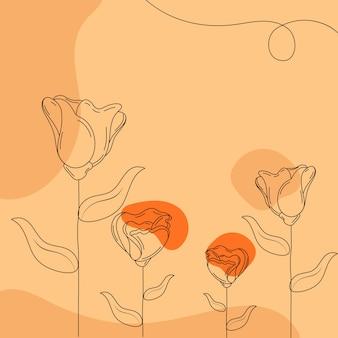 オレンジ色の落書きスタイルの花の背景。 Premiumベクター